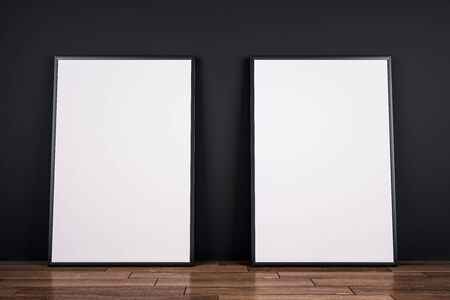 Empty white banners on wooden floor and black wall background. Gallery concept. Mock up, 3D Rendering