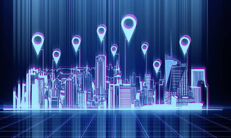 Digital night city backdrop with location pins. App and map concept. 3D Rendering Stock Photo