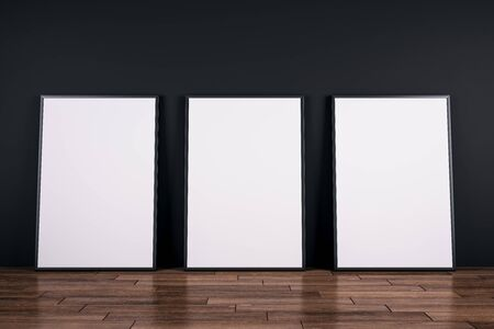 Empty white billboards on wooden floor and black wall background. Gallery concept. Mock up, 3D Rendering