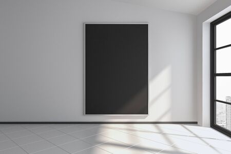 Modern interior with black poster on concrete wall, city view and sunlight with shadows. Mock up, 3D Rendering Фото со стока