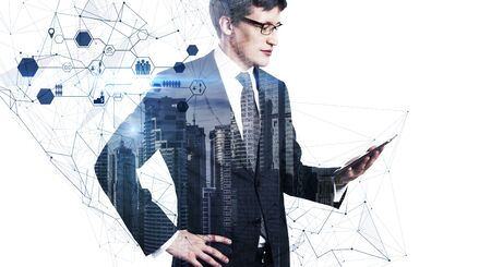 Businessman using tablet with abstract interface on white city background. Social network and innovation concept. Double exposure