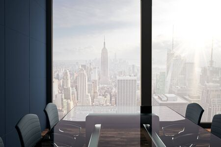 Modern conference room interior with New York city view and daylight. Workplace concept 3D Rendering