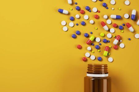 Modern spilt pills bottle on orange surface background. Medicine and illness concept. 3D Rendering Stock fotó - 129780247