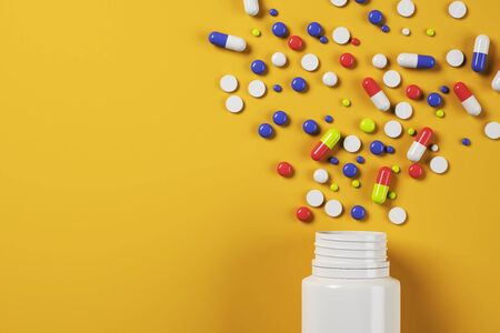 Bright spilt pills bottle on orange surface background. Medicine and illness concept. 3D Rendering