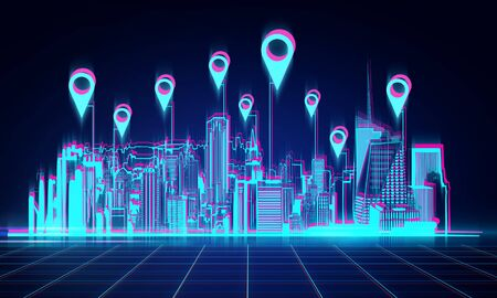 Digital night city wallpaper with location pins. App and map concept. 3D Rendering Stock Photo