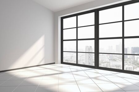 Modern interior with copyspace on wall, city view and sunlight with shadows. Mock up, 3D Rendering