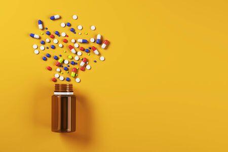 Colorful spilt pills bottle on orange surface background. Medicine and illness concept. 3D Rendering