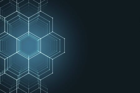 Abstract glowing hexagonal backdrop. Technology and innovation concept. 3D Rendering Фото со стока
