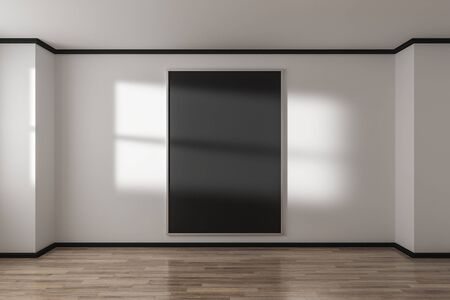 Empty concrete gallery interior with black poster on wall and sunlight. Mock up, 3D Rendering Фото со стока