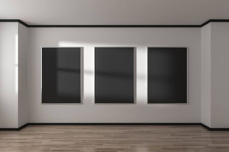 Empty concrete gallery interior with black banner on wall and sunlight. Mock up, 3D Rendering