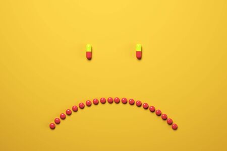 Creative frowning pills on orange background. Medicine and illness concept. 3D Rendering