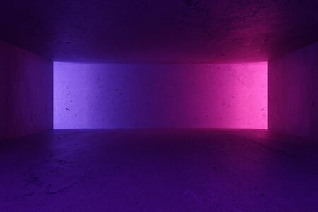 Modern loft style spacious hall with purple and pink lights on blank copyspace wall and concrete floor. 3D Rendering