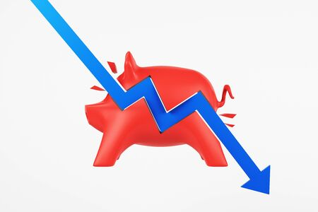 Recession concept with blue arrow hitting red piggy bank. 3D Rendering 写真素材 - 129592723