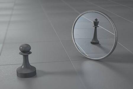 Concept d'ambition avec la figure d'échecs de pion d'échecs noir regarde dans le miroir voir la reine. Rendu 3D