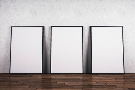 Blank white billboards on wooden floor and concrete wall background. Gallery concept. Mock up, 3D Rendering