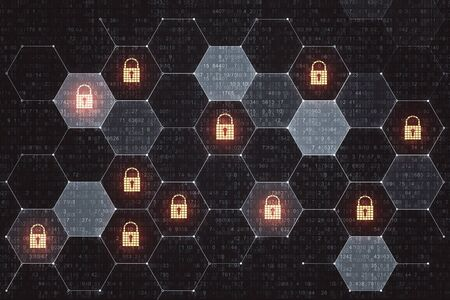 Digital crime and internet security concept with lock icons in cells. 3D Rendering Stock Photo