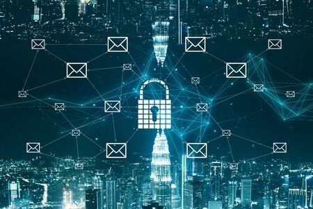 Business network security concept with digital keyhole and mail icons and upside down cityscape.