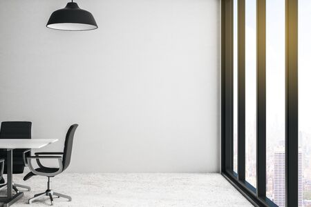 Modern conference room with city view, light wall and concrete floor. 3D Rendering Stock Photo