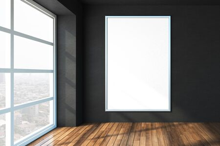 Blank white poster on black wall in modern sunny office with wooden floor and big window with city view, mock up. 3D rendering