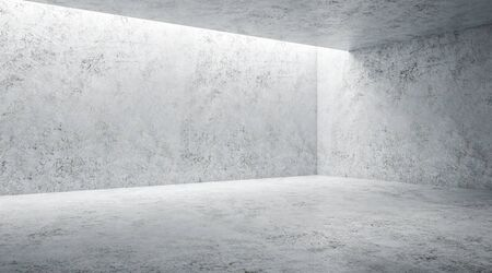 Minimal concept with modern monochrome light grey empty hall with mock up wall. 3D Rendering Stock fotó