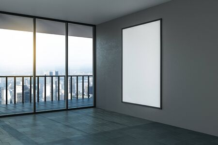 Blank white mock up poster on grey wall in modern empty room with balcony and city view. 3D Rendering Zdjęcie Seryjne