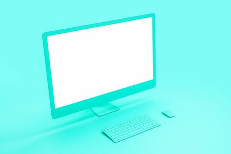 Blank white mock up of modern turquoise computer screen at abstract turquoise background. 3D Rendering Banque d'images - 129595981