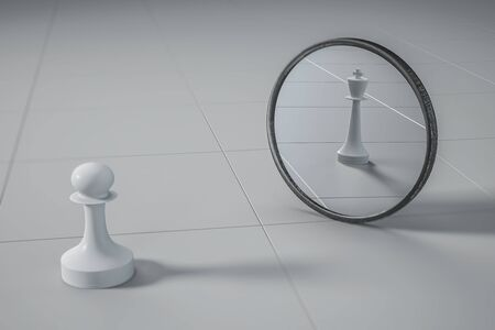 Strength and ambition concept with white chess pawn chess figure look into mirror see queen. 3D Rendering Stock Photo