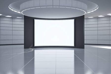 Modern futuristic monochrome hall with blank white poster in the center, mock up. 3D Rendering