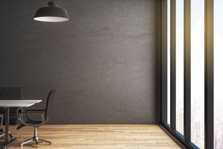 Modern conference room with city view, dark wall and wooden floor. 3D Rendering