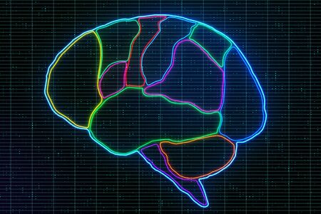 Medical brain research with anatomy of human brain lobes marked by neon lines at abstract digital pixels background. 3D Rendering