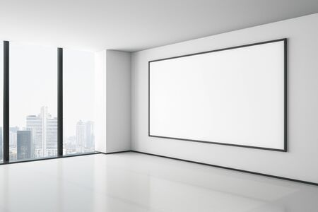 Blank white mock up poster on white wall in modern empty light room with city view. 3D Rendering