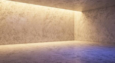 Minimal concept with modern concrete empty exhibition hall with blank mock up wall. 3D Rendering Stock fotó