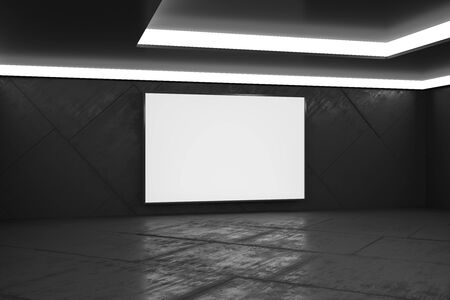 Blank white poster in monochrome style empty hall with concrete floor, mock up. 3D Rendering