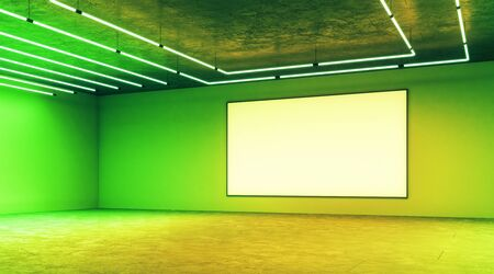 Blank mock up poster on light green wall in modern empty hall with neon paints and halogen lamps. 3D Rendering Stock fotó