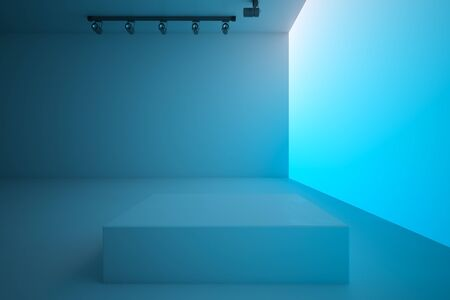 Empty spacious blue hall with lightning blank blue gradient wall and stand in the center, mock up. 3D Rendering