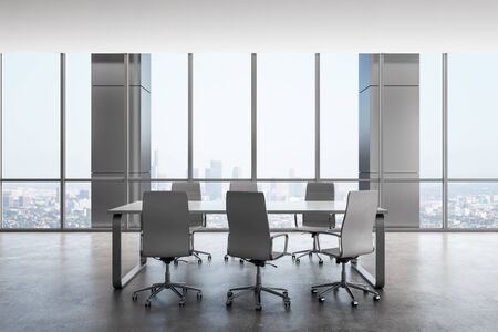Contemporary conference room interior with panoramic city view. Workplace and company concept. 3D Rendering