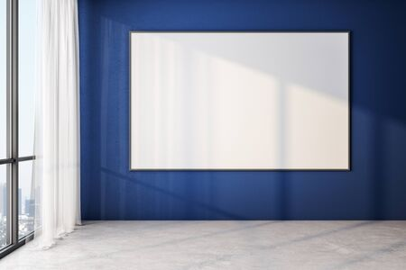 Blank white poster on blue wall in modern empty room with big windows and wooden floor, mock up. 3D Rendering Stockfoto