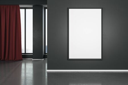 Blank white mock up poster on dark wall in modern living room with wooden floor and red curtain. 3D Rendering