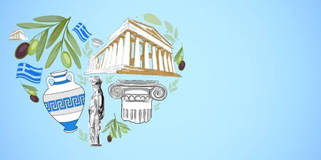 I love Greece concept with heart shaped traditional greek symbols at blue background. 3D Rendering Imagens