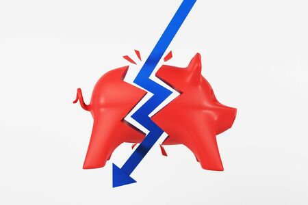 Crisis concept with blue arrow hitting red piggy bank at light background. 3D Rendering
