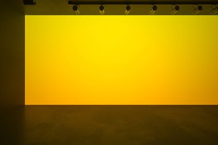 Big blank yellow wall in spacious stylish hall with dark floor, mock up. 3D Rendering