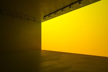 Modern style hall with blank yellow wall, lights and concrete floor, mock up. 3D Rendering 版權商用圖片