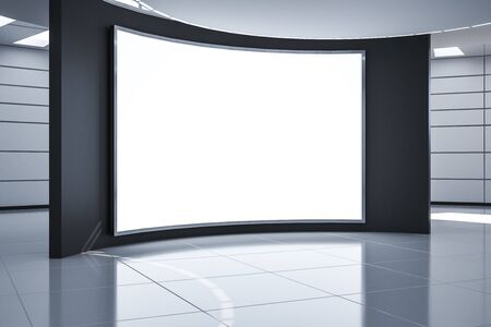 Modern futuristic monochrome hall with blank white poster on black wall, mock up. 3D Rendering