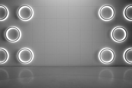 Blank grey wall with modern circle lights and gloss concrete floor, mock up. 3D Rendering Stock fotó