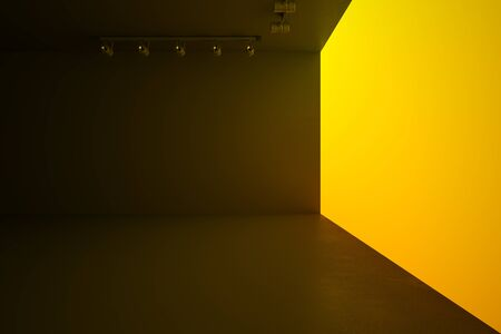 Modern style hall with blank yellow wall, lights and brown ceiling and floor, mock up. 3D Rendering