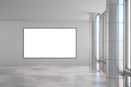 Blank white mock up poster on light grey wall in modern industrial style spacious hall with concrete floor. 3D Rendering
