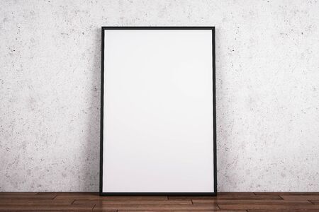 Blank white poster on wooden floor and concrete wall background. Gallery concept. Mock up, 3D Rendering Stockfoto
