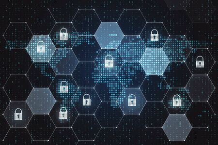Global internet security concept with digital screen with lock icons in cells and pixel world map. 3D Rendering Stock Photo