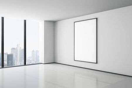 Blank white mock up poster on white wall in modern empty room with megapolis city view. 3D Rendering Stockfoto