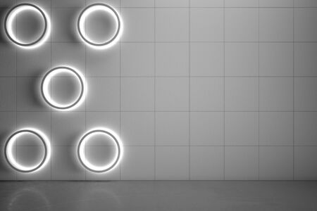 Blank copyspace grey wall with modern circle lights and gloss concrete floor, mock up. 3D Rendering Stock fotó - 129606780